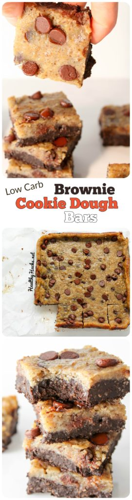 "Low carb healthy ""brookies"" - brownie cookie dough bars - High Protein, Gluten Free, Vegan"