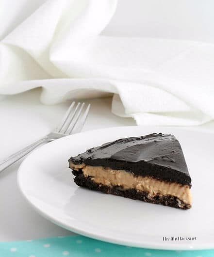 Healthy Chocolate Peanut Butter Pie - raw, vegan, gluten free