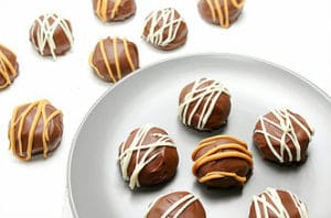 Chocolate Protein Cake Balls - a quick treat that is high in protein and grain free.