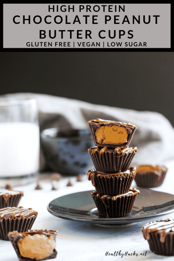These easy no bake high protein peanut butter cups are like little bites of fudge covered in chocolate. These homemade treats are like a Reeses cup only better! You only need a few ingredients to make this healthy snack. It's packed with plant based protein, vegan, and gluten free. Take them on the go or have them as a post workout snack! #HealthyHacks