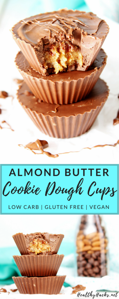 Almond butter cookie dough cups are the perfect sweet treat with a healthy spin. This healthy snack is an easy no bake recipe full of date sweetened cookie dough. It's also a vegan and gluten free dessert!