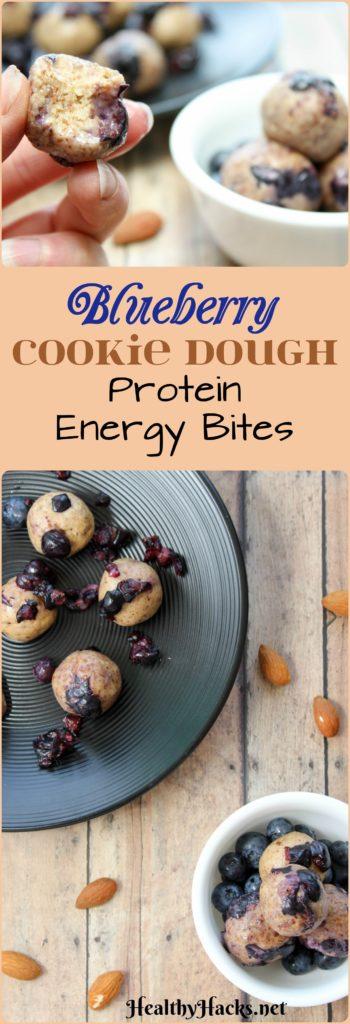 Blueberry Cookie Dough Protein Energy Bites - No Refined Sugar, Vegan, Gluten Free