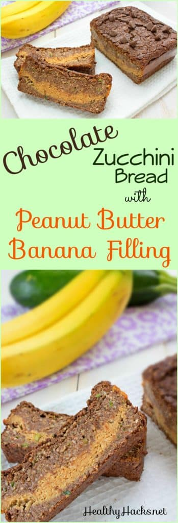Chocolate Zucchini Bread with Peanut Butter Banana Filling