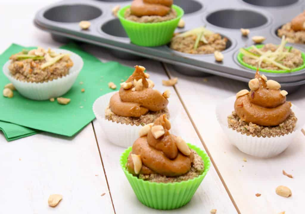 Zucchini muffins with peanut butter banana frosting