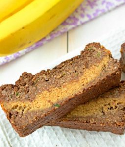 Chocolate Zucchini Bread with Peanut Butter Banana Filling - Gluten Free, Vegan, Low Sugar