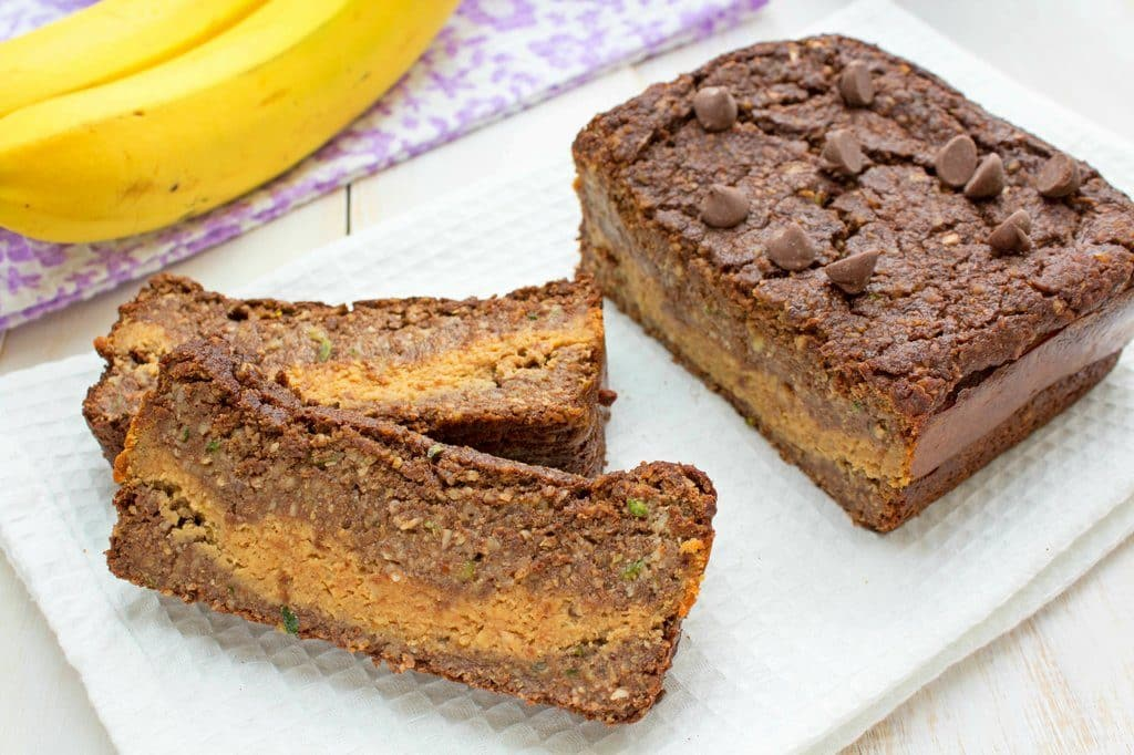 Chocolate Zucchini Bread with Peanut Butter Banana Filling - Gluten Free, Vegan, Low Sugar