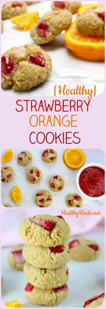 healthy strawberry orange cookies - low fat, low sugar, gluten free