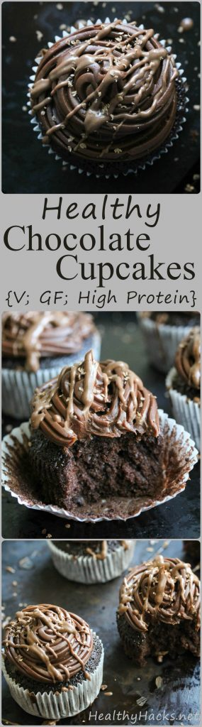 These chocolate cupcakes with chocolate frosting are deceivingly healthy. And also vegan, gluten free, and high in protein!