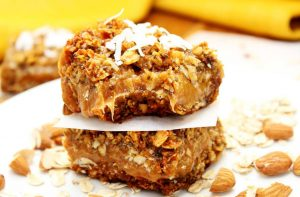 Calling all caramel lovers! These Healthy Caramel Oatmeal Bars are every bit the chewy, gooey, goodness they look. They're gluten free, vegan, soy free, and DELICIOUS!
