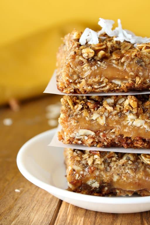 Healthy Caramel Oatmeal Bars - Gluten Free, Vegan