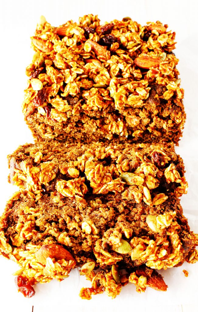 You'll never guess how easy this recipe for healthy pumpkin bread with a streusel topping is! It's so delicious and moist, as well as vegan, gluten free, and low in sugar. The streusel can even be made on its own and eaten like granola! Two for one!! #pumpkinbread #healthypumpkinbread #easyrecipe #easydessert #pumpkin #HealthyHacks