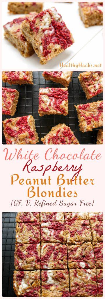 White Chocolate Raspberry Peanut Butter Blondies