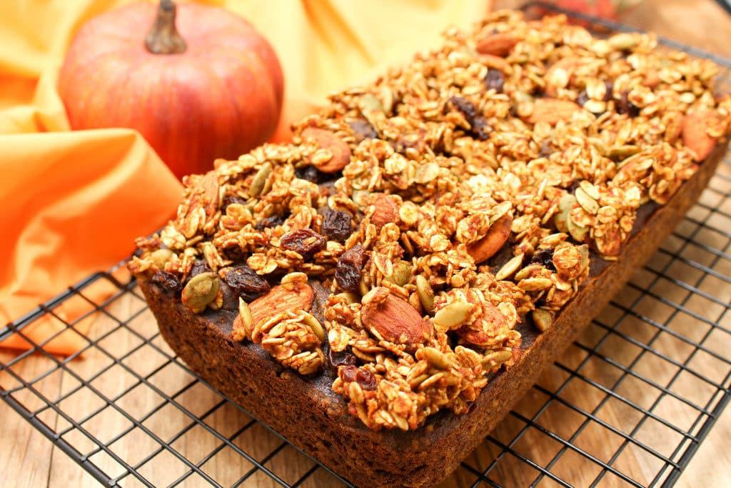 pumpkin streusel topped pumpkin bread - vegan, gluten free