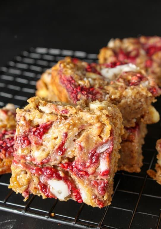 White Chocolate Raspberry Peanut Butter Blondies - gluten free, vegan