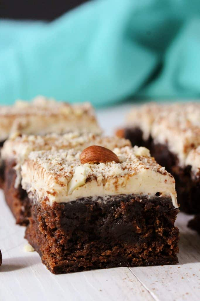 If you like Nutella you're going to love these Healthy Chocolate Hazelnut Brownies! The brownies are ultra fudgy and dense, and are topped with a creamy hazelnut frosting. They're also high in protein, gluten free, and vegan.