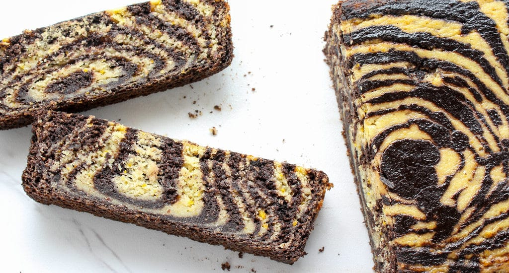 sliced Chocolate Orange Marble Loaf Cake