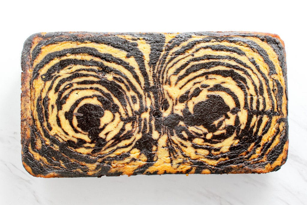 top view of Chocolate Orange Marble Loaf Cake