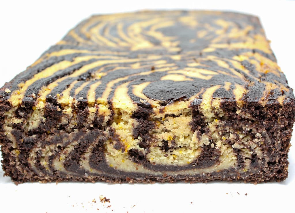 front of Chocolate Orange Marble Loaf Cake