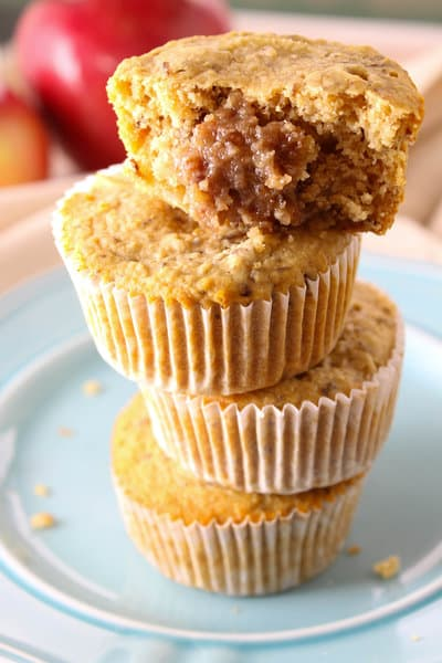 inside healthy caramel apple muffins
