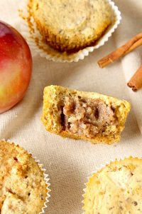 top view ofhealthy caramel apple muffins