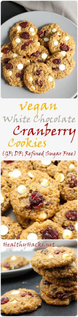 Vegan White Chocolate Cranberry Cookies