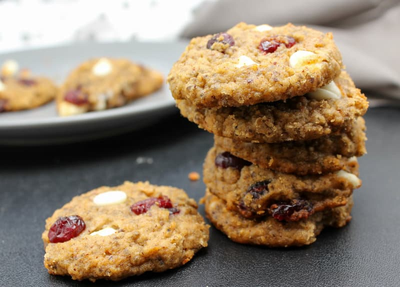 stacked Vegan White Chocolate Cranberry Cookies