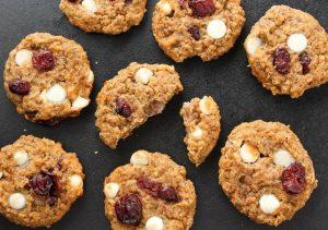 top view Vegan White Chocolate Cranberry Cookies