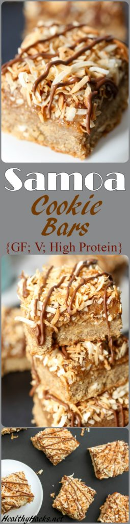 Healthy Samoa Cookie Bars - high protein, vegan, gluten free