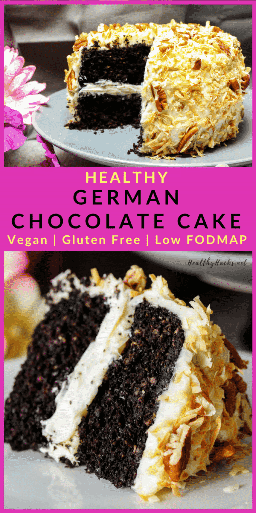 This healthy German Chocolate Cake recipe is soft and moist and full of wholesome ingredients! The frosting is creamy, coconut, and low in sugar. And you can make as many layers as you want! Make a small batch or feed a crowd with this delicious chocolate cake! #germanchocolatecake #healthydesserts #healthyrecipes #chocolate #cakerecipes #coconut #HealthyHacks