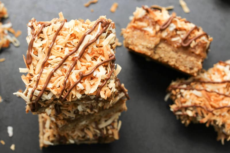 Samoa Cookie Bars - gluten free, vegan