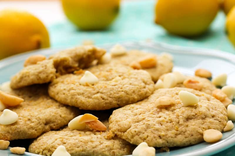 Lemon White Chocolate Macadamia Nut Cookies - Vegan, Gluten Free