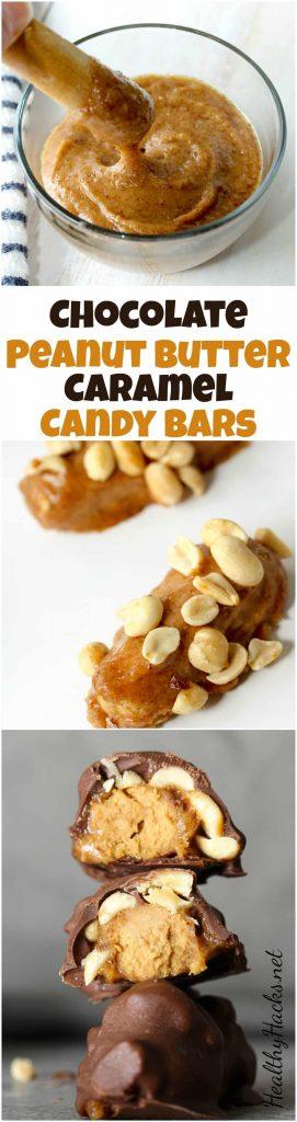Healthy Chocolate Peanut Butter Caramel Candy Bars - gluten free, vegan, low sugar