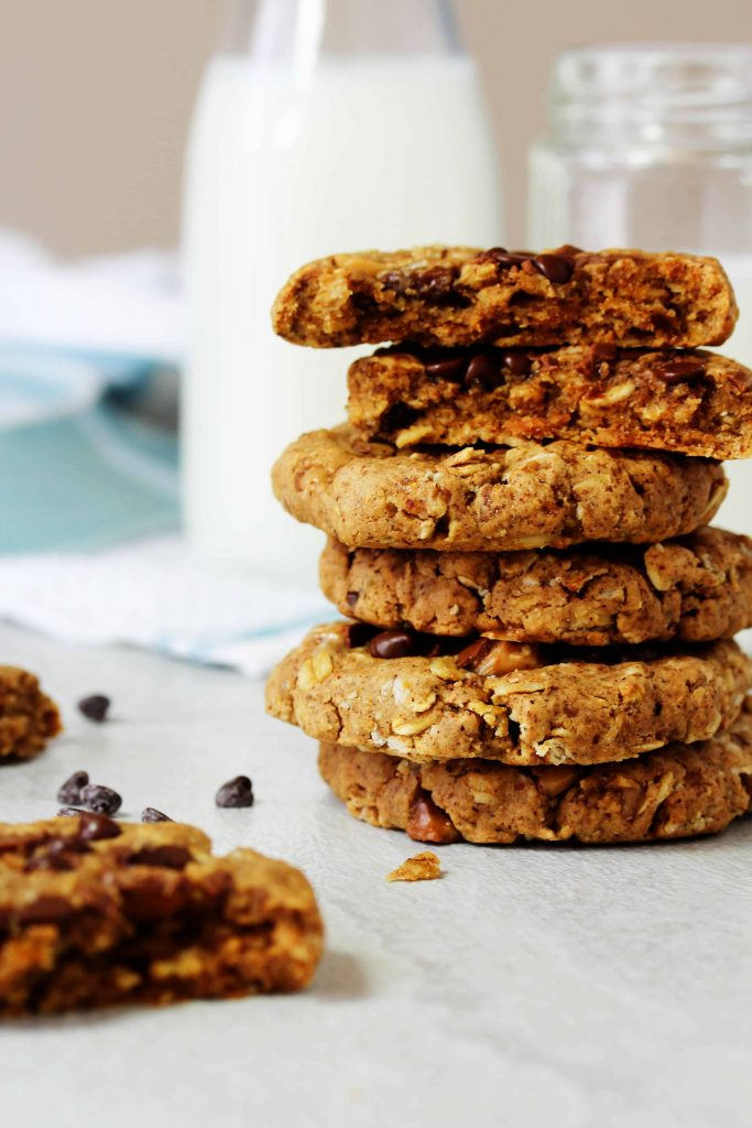 All you need is a handful of ingredients and 1 bowl to make these ultra chewy Toffee Oat Chocolate Chip Cookies! They're high in protein, low FODMAP, vegan, and gluten free! This recipe is so perfect for everyone - you'll want to make them today!