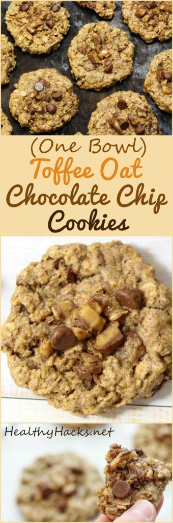 Toffee Oat Chocolate Chip Cookies - refined sugar free, vegan, gluten free