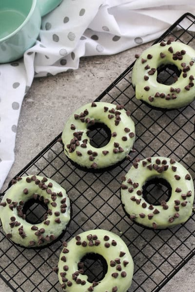 Vegan Mint Chocolate Chip Donuts - gluten free; low fat
