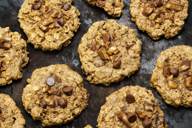 Toffee Oat Chocolate Chip Cookies - Vegan, Gluten Free, Low FODMAP