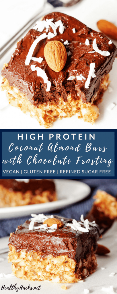 If you love Almond Joy Bars you need to make this high protein dessert! These Coconut Almond Bars are perfectly chewy and the Chocolate Frosting is ridiculously creamy. These cookie bars are full of healthy fats and are refined sugar free, too! #refinedsugarfree #healthydesserts #highproteinsnacks