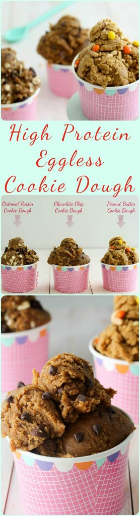No need to worry about salmonella with these healthy, high protein eggless edible cookie dough recipes! They're so quick and easy to make, full of nutritious ingredients, and are high in protein! 3 recipes for Chocolate Chip Cookie Dough, Peanut Butter Cookie Dough, and Oatmlea Raisin Cookie Dough. All are #glutenfree #vegan #refinedsugarfree #paleo and #highprotein