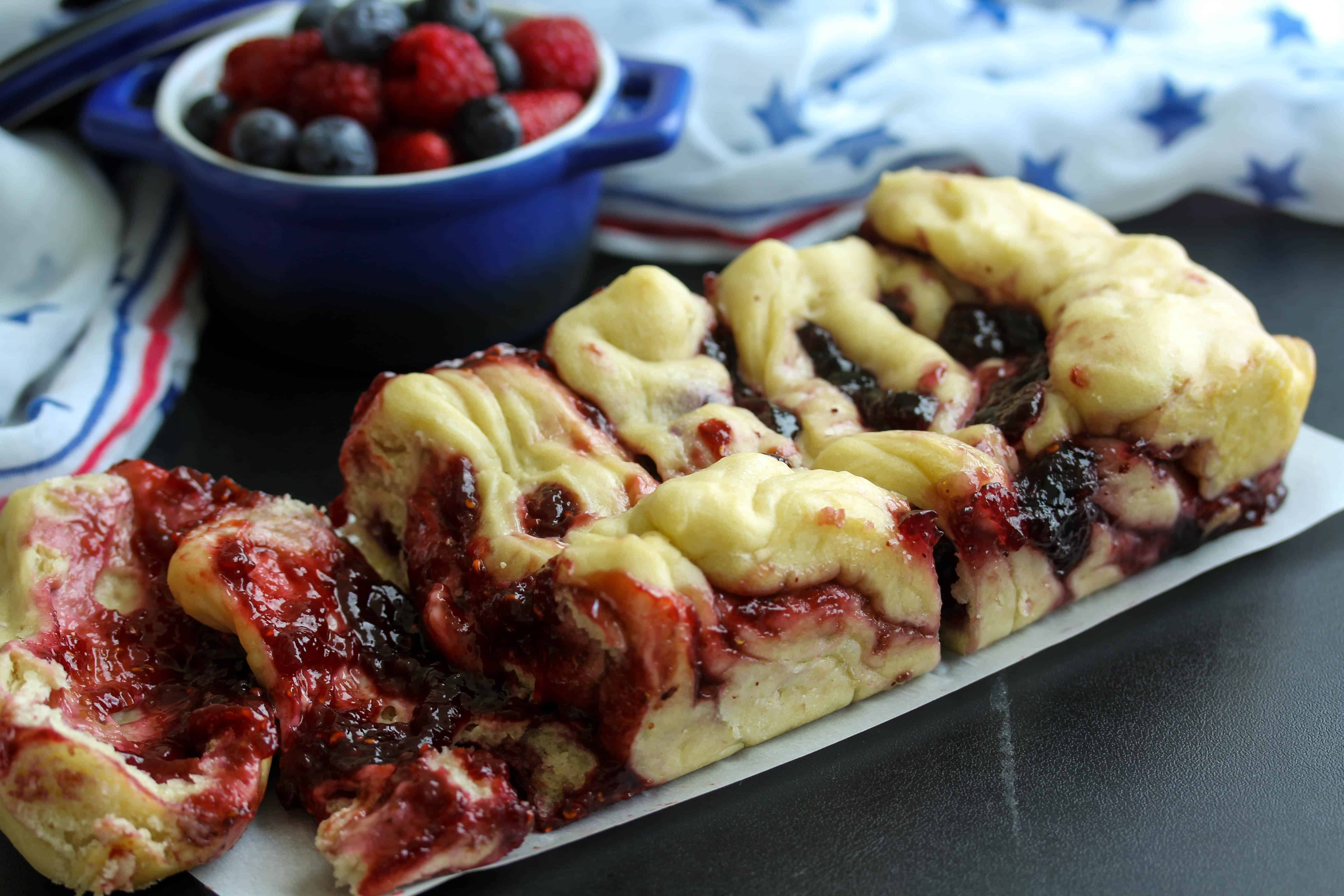 Red, White, and Blueberry Whole Wheat Pull Apart Bread - vegan; low sugar