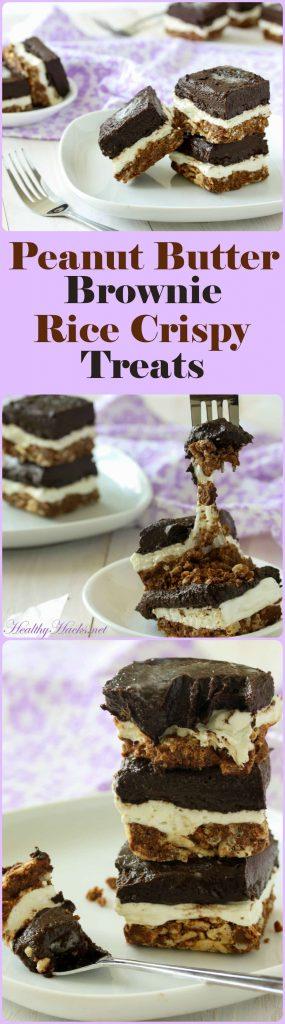 Peanut Butter Brownie Rice Crispy Treats - vegan, gluten free