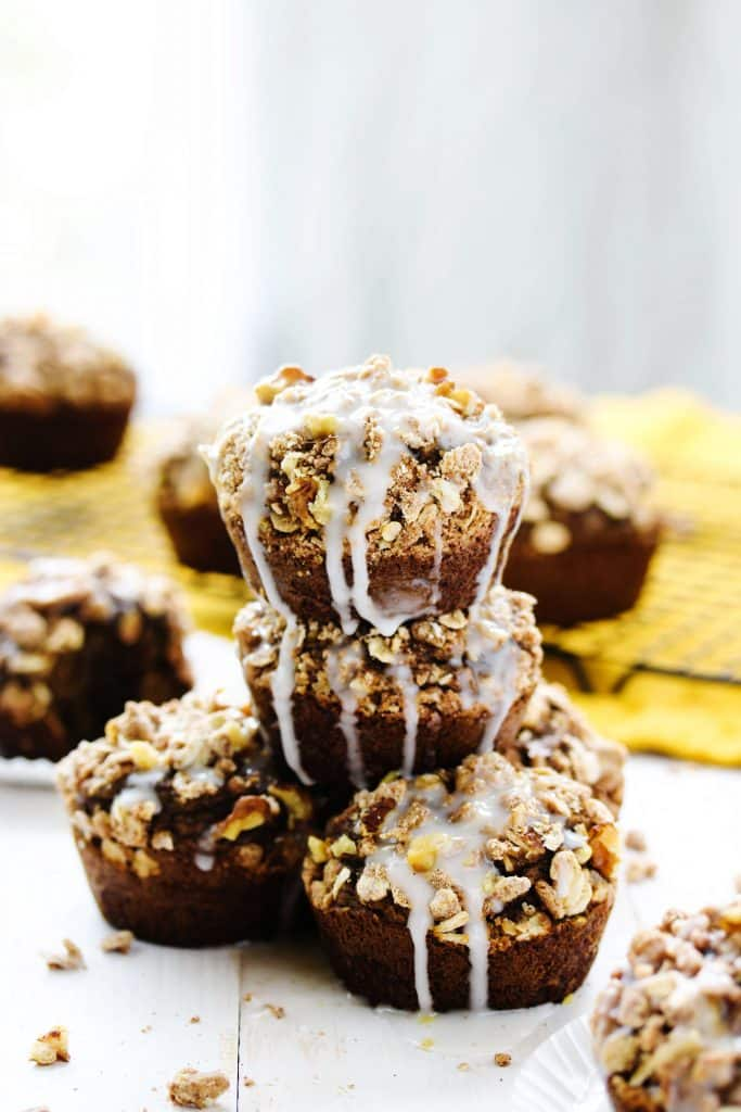 Healthy Pumpkin Maple Crumb Cake Muffins | This simple and easy dessert recipe is perfect for the Fall! It's got the best flavors of pumpkin and warm spices all packed into the best bakery style muffin! But skip the bakery line and make these homemade goodies from scratch! They're moist, delicious, and gluten free! #pumpkin #crumbcake #Fall #easyrecipes #muffins #dairyfree #glutenfree #HealthyHacks