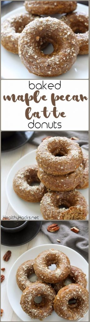 Baked Maple Pecan Latte Donuts - gluten free and whole options; dairy free