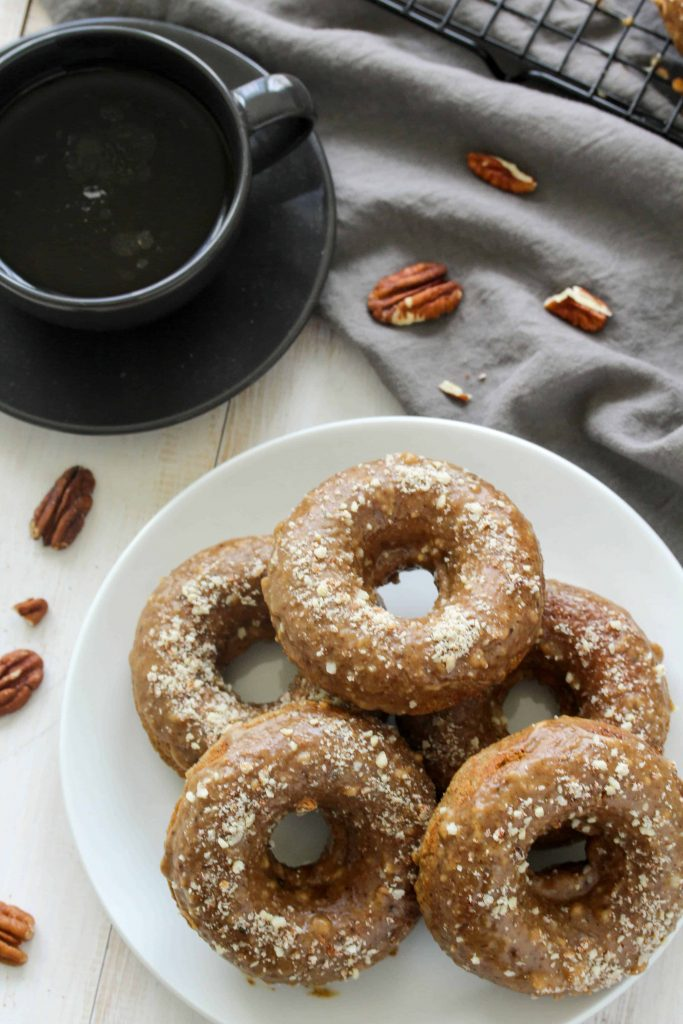 Baked Maple Pecan Latte Donuts - Gluten Free/Whole Wheat options; Dairy Free