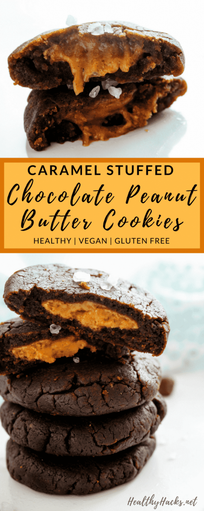 Is there anything better than a healthy chocolate cookie? Maybe an easy recipe for caramel stuffed chocolate peanut butter cookies! Everything you could want in a healthy dessert recipe! They're also low fodmap, gluten free, vegan, and low in added sugar!