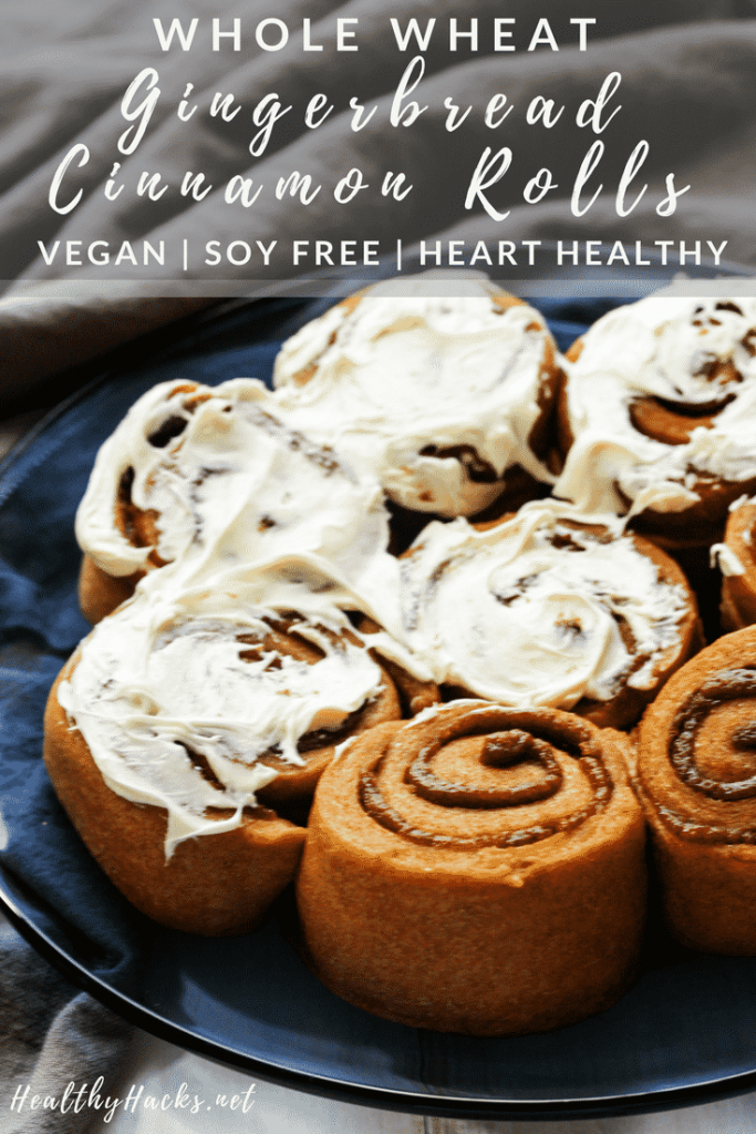 These healthy whole wheat gingerbread cinnamon rolls are perfect for any time of the year! They light and fuffy, full of whole grains, and are all around delicious! #vegan #wholewheat #healthydesserts