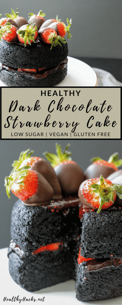 This recipe for dark chocolate strawberry cake is the perfect mix of a cake and a brownie! It's slightly fluffy, slightly fudgy, and all delicious! It's also gluten free, vegan friendly, and makes for the perfect easy healthy dessert recipe!