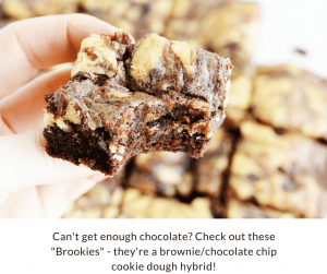 "This recipe for healthy high protein ""brookies"" is a mix between brownies and chocolate chip cookies and is going to be your new favorite dessert! It's creamy, smooth, and totally delicious!"