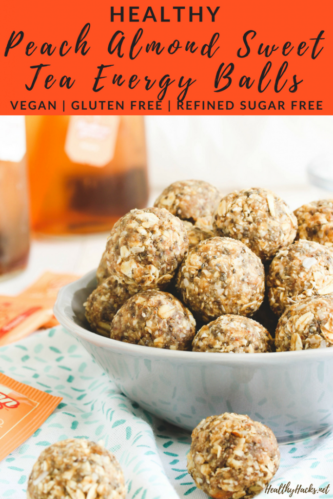 Get your sweet tea and energy ball all in one with these Peach Almond Sweet Tea Energy Balls! They're sweetened with dates and are refined sugar free, packed with protein and whole grain oatmeal, and totally chewy and delicious! They're also gluten free and vegan. No bake a batch up ASAP! #nobake #energyballs #peach #almond #dairyfree #HealthyHacks