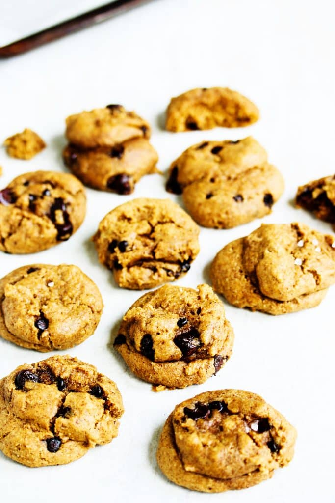Healthy Whole Wheat Chocolate Chip Cookies | This easy dessert recipe for soft, chewy chocolate chip cookies is going to be your new go-to recipe for making cookies from scratch. It's packed with wholesome ingredients but you'd never know it after one bite into the ooey gooey center. They're perfect for the whole family and just so happen to be eggless and vegan. Bake some up in under 30 min! #chocolatechipcookies #cookies #wholewheat #healthy #desserts #dairyfree #HealthyHacks
