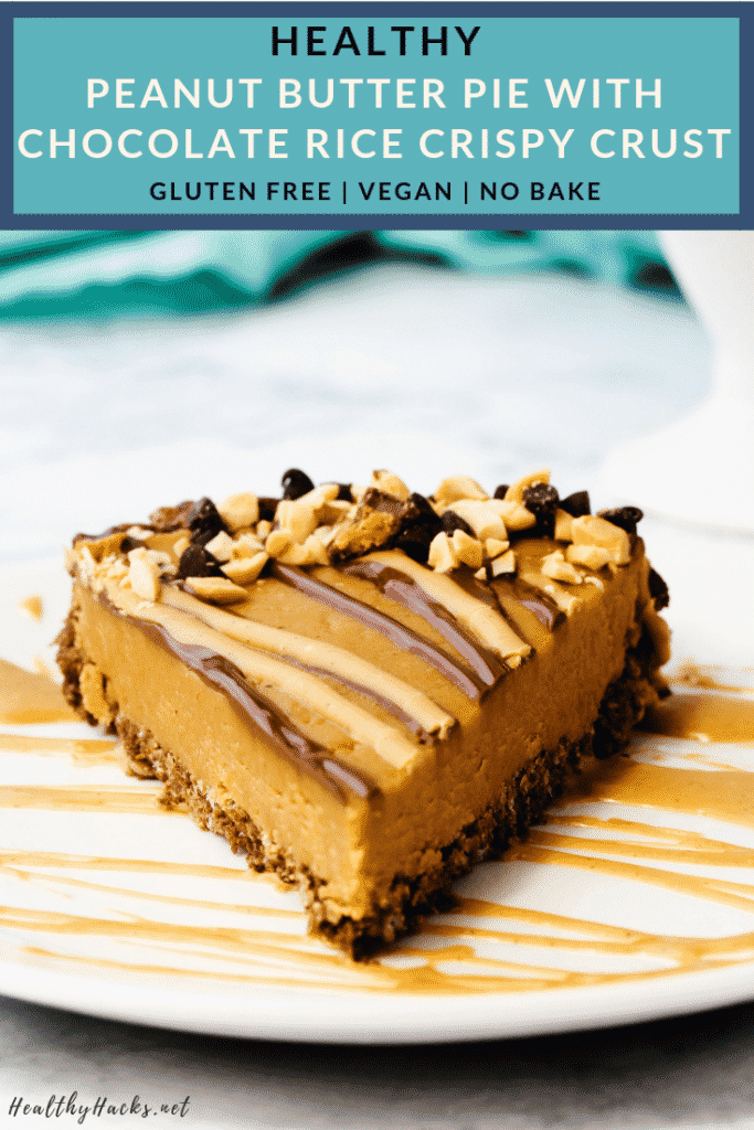This healthy no bake peanut butter pie with chocolate rice crispy crust is the perfect easy dessert to have on hand when you're craving that classic flavor combo! The recipe for the pie is soft and fudge like while the crust is crispy and crunchy. Eat it straight out of the fridge or let it come to room temp for a silkier texture. This tasty snack is gluten free, vegan, low fodmap, and lower sugar! #peanutbutter #chocolate #nobake #ricekrispie #pie #HealthyHacks